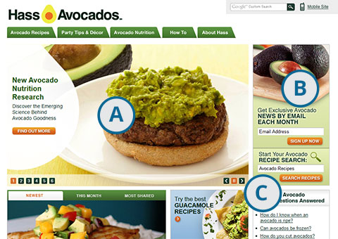 Screenshot of AvocadoCentral.com home page with callouts